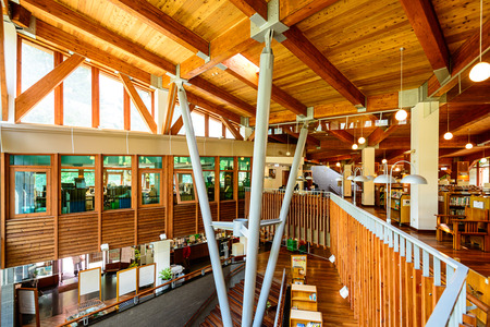 noted: TAIPEI, TAIWAN - JANUARY 16, 2013: The Beitou Library. The wooden structure is noted for its eco friendly construction. Editorial