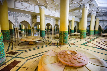 ii: CASABLANCA, MOROCCO - The Wudu wash room of Hassan II Grand Mosque. The ritual of washing is performed before formal prayer.