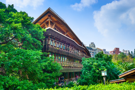 TAIPEI, TAIWAN - JANUARY 16, 2013: The Beitou Library. The wooden structure is noted for its eco friendly construction. Redakční