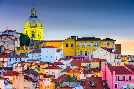 Lisbon, Portugal skyline at Alfama, the oldest district of the city with the National Pantheon Dome. Stock Photo