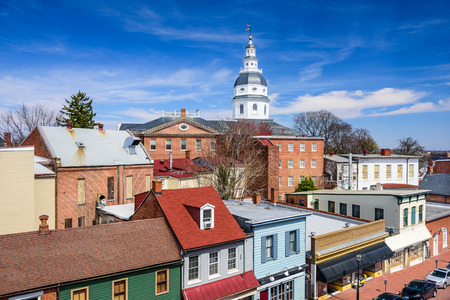 maryland: Annapolis, Maryland, USA downtown view over Main Street with the State House. Stock Photo