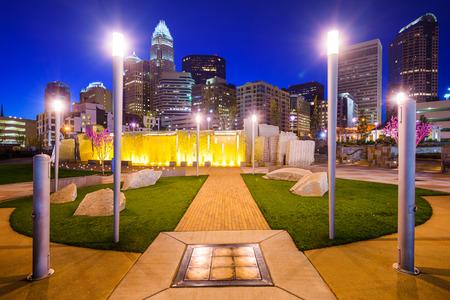 city park skyline: Charlotte, North Carolina, USA city park and skyline. Stock Photo