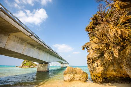 open road: Kouri Bridge in Okinawa, Japan. It is the longest bridge on an open road in Japan, connecting Kouri Island and Yagaji Island at a length of 2,020 meters.