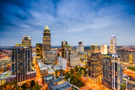 aerial view city: Charlotte, North Carolina, USA uptown city skyline. Stock Photo