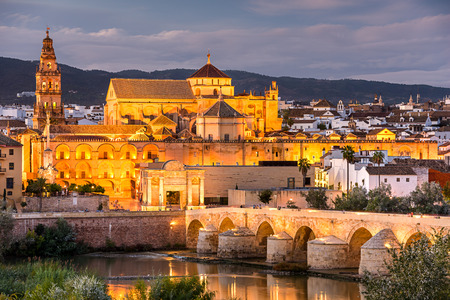 the Roman Bridge and Mosque-Cathedral on the Guadalquivir River in Cordoba, Spain