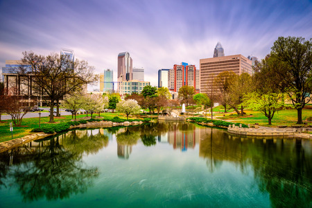 north:  skyline in Charlotte, North Carolina, USA