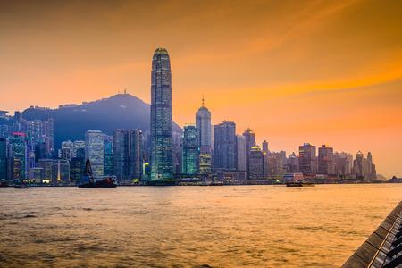 Hong Kong, China cityscape at Victoria Harbor.