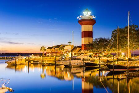 lighthouse at night: Hilton Head, South Carolina, USA at the Lighthouse.