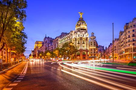 Madrid, Spain cityscape at night. 스톡 콘텐츠
