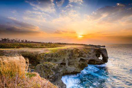 Manzamo Cape during sunset in Okinawa, Japan photo