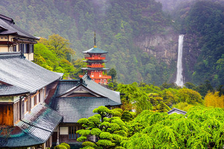 hillside temples with Seiganto-ji Pagoda and Nachi Waterfall in Nachi, Japan