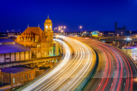 historic Main Street Station and Interstate 95 in Richmond, Virgina, USA