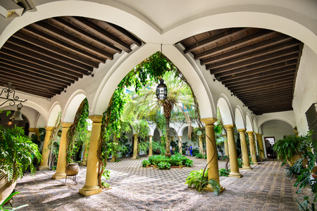 palacio: CORDOBA, SPAIN - NOVEMBER 11, 2014: Viana Palace at the courtyard gardens. The Palace grounds are a tourist attraction known for several distinct but connected gardens. Editorial