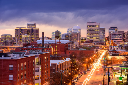 main street: Richmond, Virginia, USA downtown cityscape over Main St.