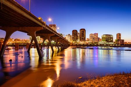 Richmond, Virgina, USA downtown skyline on the James River.