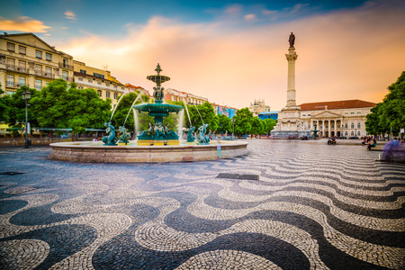 night scenery: Lisbon, Portugal cityscape at Rossio Square. Stock Photo