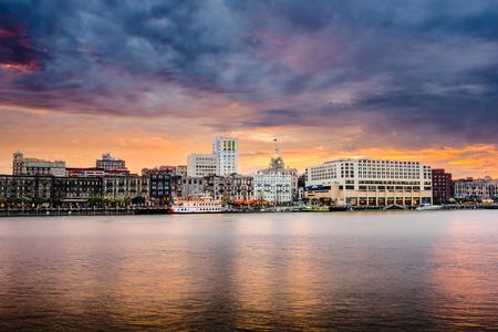 Savannah, Georgia, USA downtown riverfront skyline. photo
