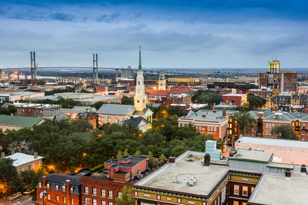 Savannah, Georgia, USA downtown at dusk. Stok Fotoğraf
