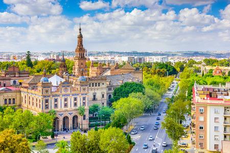 プラザ デ エスパーニャに向かってスペイン、セビリアの街並み。