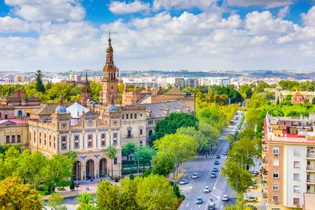 Seville, Spain cityscape towards Plaza de Espana.