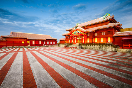 historische Shuri Castle in Okinawa, Japan Redactioneel