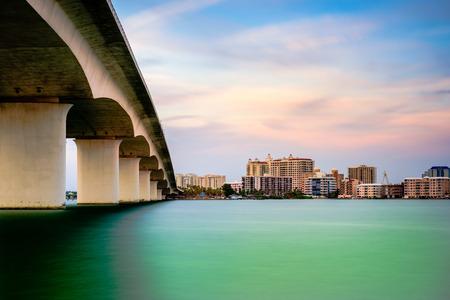 fl: Sarasota, Florida, USA town cityscape from Sarasota Bay.