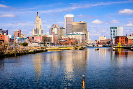 american city: Providence Rhode Island USA skyline on the river.