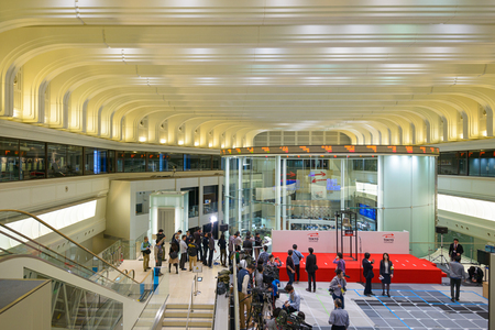 trading floor: TOKYO, JAPAN - DECEMBER 28, 2012: News reporters set up inside the Tokyo Stock Exchange. It is the third largest exchang in the world.