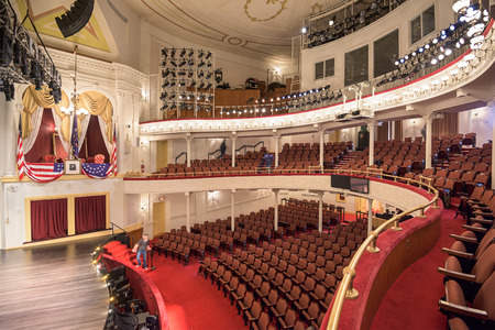 at the theater: WASHINGTON, D.C. - APRIL 12, 2015: Historic Fords Theatre. The theater is infamous as the site of the assassination President Abraham Lincoln in 1865.