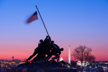 WASHINGTON, DC - APRIL 5, 2015: Marine Corps War Memorial at dawn. The memorial features the statues of servicemen who raised the second U.S. flag on Iwo Jima in World War II. Stock Photo - 39326220