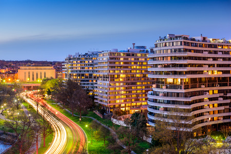scandal: WASHINGTON, D.C. - APRIL 11, 2015: The Watergate Complex in the Foggy Bottom District. The complex became well known for the Watergate Scandal which led to President Nixons resignation in 1974. Editorial