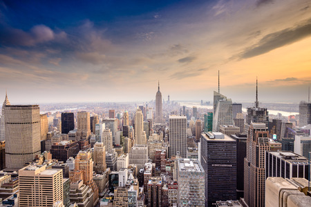 city  buildings: New York City, USA famous skyline over Manhattan. Stock Photo