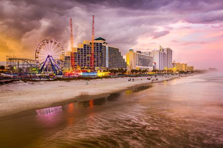 florida state: Daytona Beach, Florida, USA beachfront skyline.