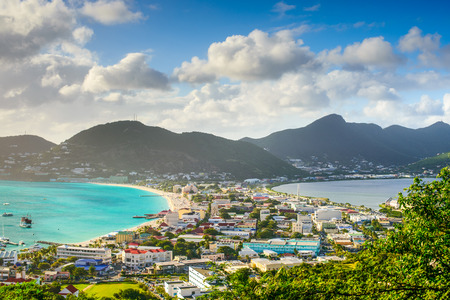 sint: Philipsburg, Sint Maarten, cityscape at the Great Salt Pond.