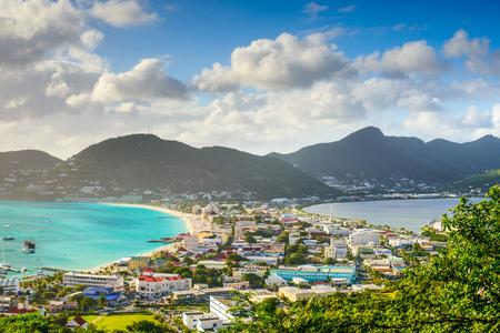 Philipsburg, Sint Maarten, stadsbeeld bij de Great Salt Pond.