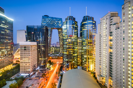 Beijing, China Central Business District cityscape. Imagens