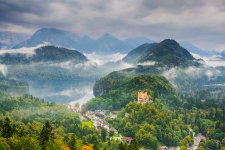 neuschwanstein: the Bavarian Alps with Hohenschwangau, Germany.