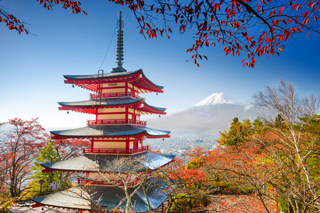 seaonal: Mt. Fuji, Japan with Chureito Pagoda.