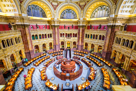 biblioteca: WASHINGTON, DC - 12 de abril de 2015: La Biblioteca del Congreso en Washington. La biblioteca sirve oficialmente al Congreso de Estados Unidos.