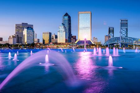 florida state: Jacksonville, Florida, USA skyline at Friendship Fountain. Stock Photo