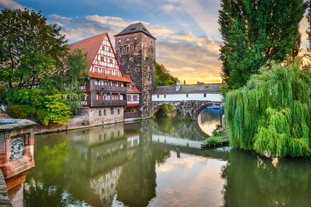 Nuremberg, Germany at Hangmans Bridge over the Pegnitz River. Stok Fotoğraf