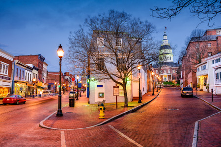 downtown cityscape on Main Street in Annapolis, Maryland, USA