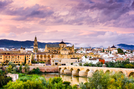 the Roman Bridge and Mosque-Cathedral on the Guadalquivir River in Cordoba, Spain Imagens - 40513055