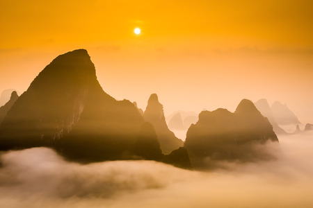 mountaintops: Karst Mountaintops in Guilin, China. Stock Photo