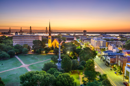 skyline over Marion Square in Charleston, South Carolina, USA