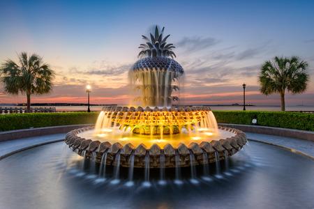 the Waterfront Park Pineapple Fountain in Charleston, South Carolina, USA Stock Photo