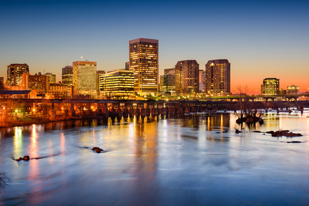 river: skyline on the James River in Richmond, Virginia, USA Stock Photo
