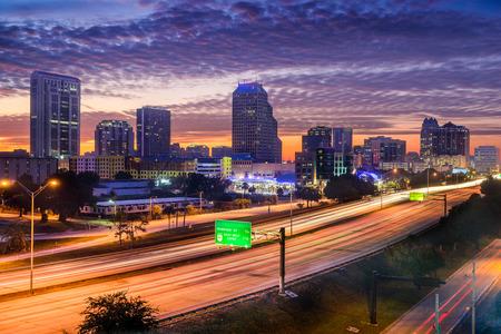 orange county: skyline over the highway in Orlando, Florida, USA Stock Photo