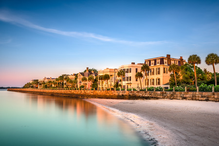 the historic homes on The Battery in Charleston, South Carolina, USA 스톡 콘텐츠
