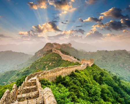 ancient brick wall: Great Wall of China at the Jinshanling section.